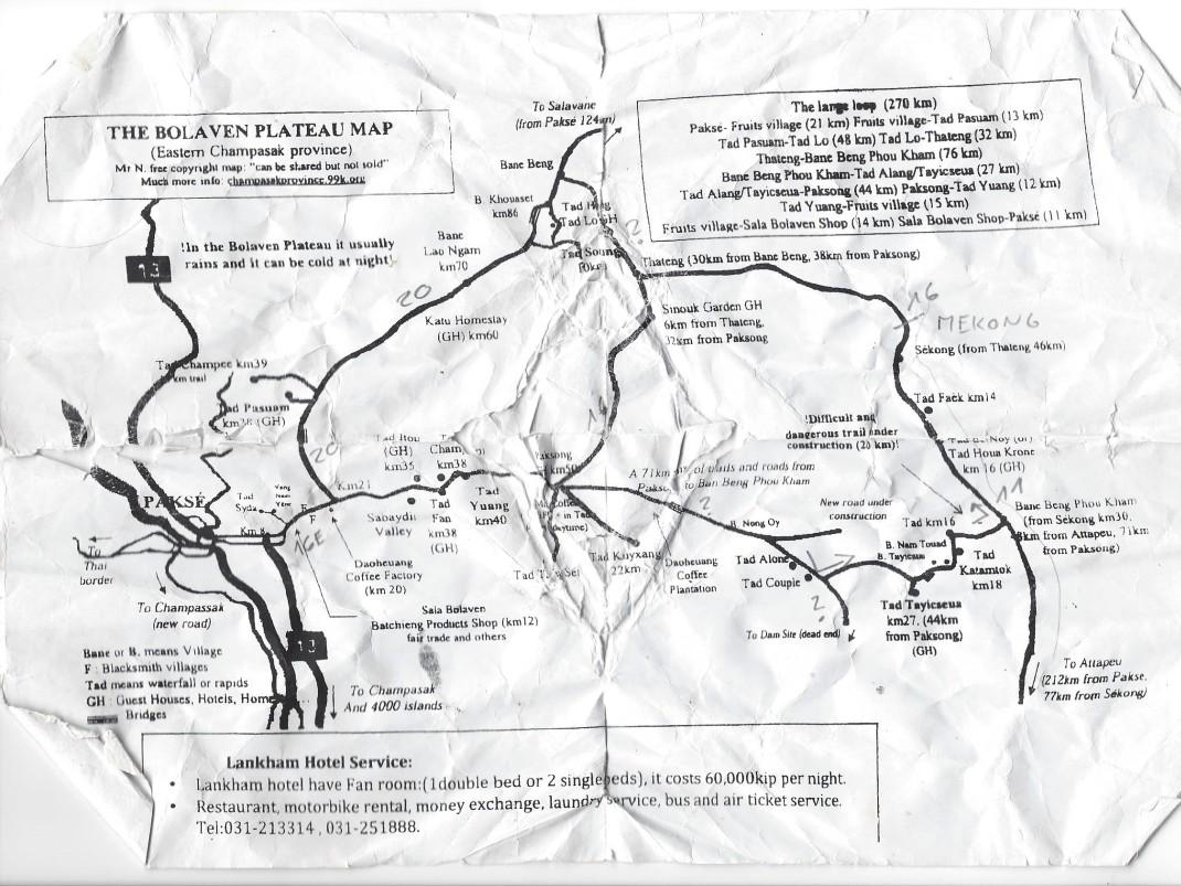 Bolaven - lekko zmarnowana mapa dużej i małej pętli