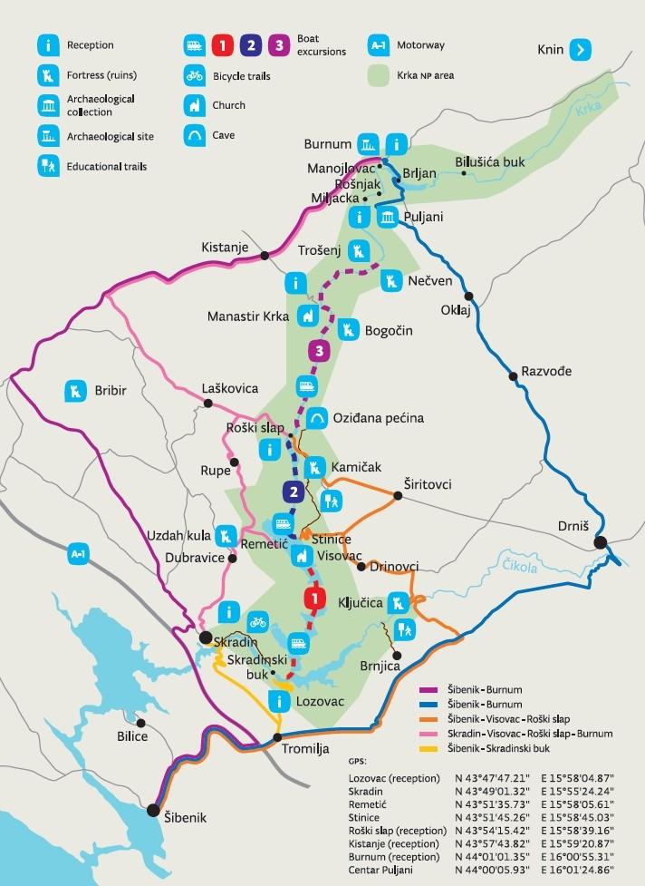 Park Narodowy Krka - mapa
