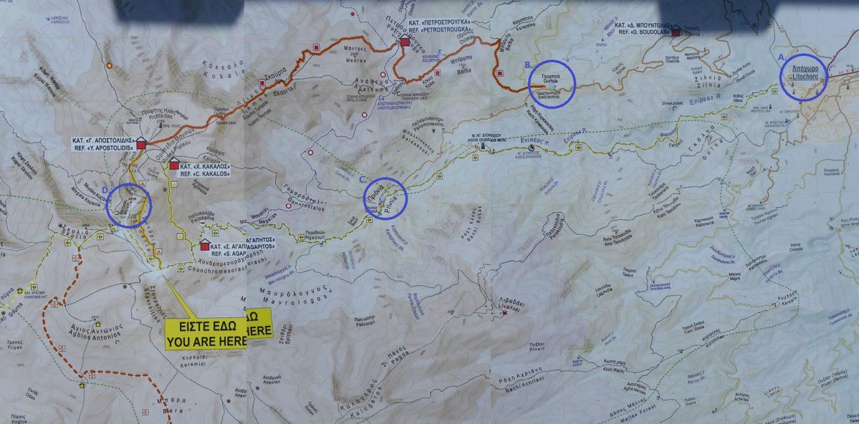 Mapa szlaków. Olimp, wąwóz Enipeas